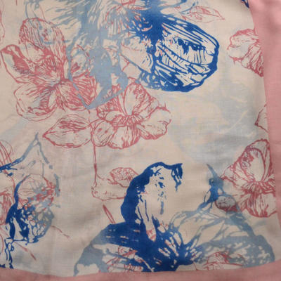 Classic women's scarf - pink and blue - 2