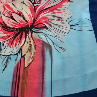 Classic women's scarf - blue and red - 2
