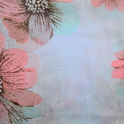 Classic women's scarf - light blue and pink - 2