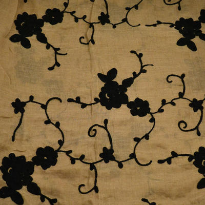 Classic women's scarf - brown with floral print - 2