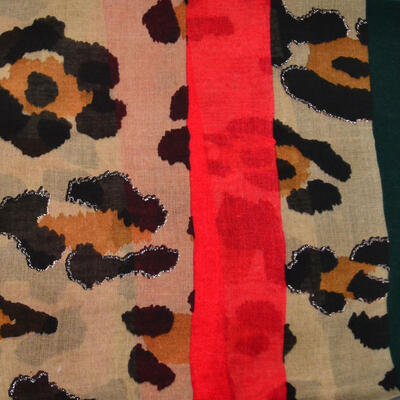 Classic women's scarf - beige and red - 2