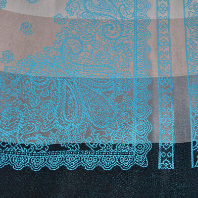 Classic cashmere scarf - grey and turquoise - 2
