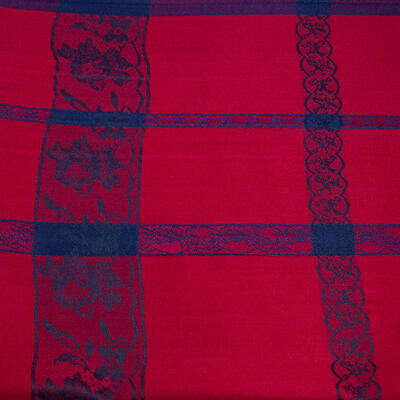 Classic winter scarf - dark red and blue - 2