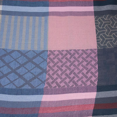 Classic warm scarf - blue and pink - 2
