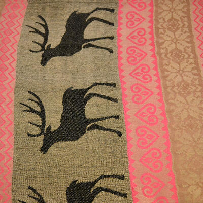 Classic cashmere scarf - brown and pink - 2