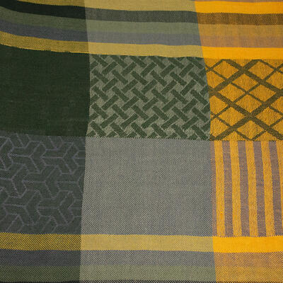 Classic warm scarf - green and mustard yellow - 2