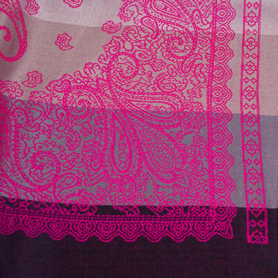 Classic warm double-sided scarf - grey and fuchsia pink - 2