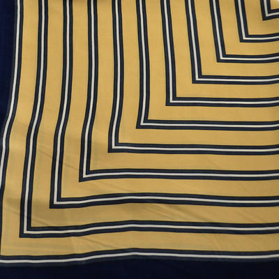 Square scarf - golden brown and blue - 2