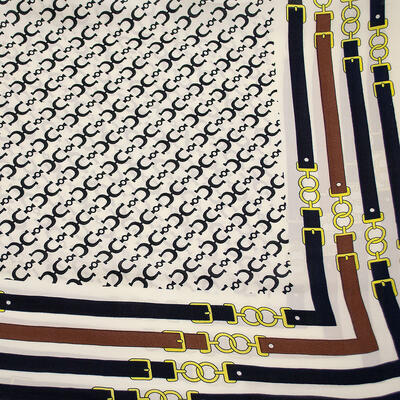 Square scarf - white and blue - 2