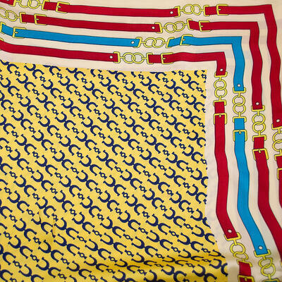 Square scarf - yellow and beige - 2