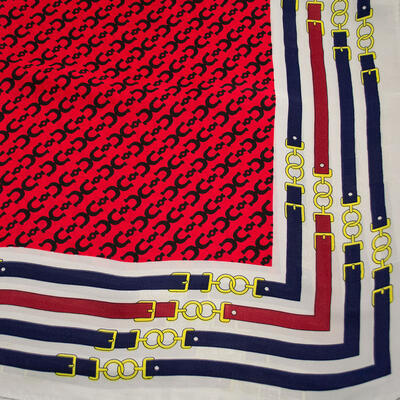 Square scarf- red and white - 2