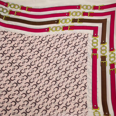 Square scarf- pink and white - 2