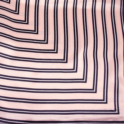 Small neckerchief - pink and grey with stripes - 2