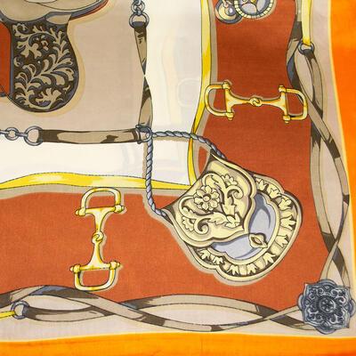 Small neckerchief - orange and beige - 2