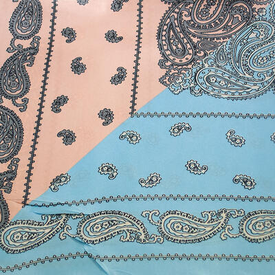 Small neckerchief - blue and peach pink - 2