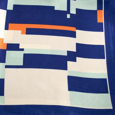 Small neckerchief - blue and beige - 2