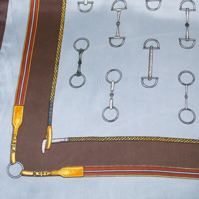 Small neckerchief - blue and brown - 2