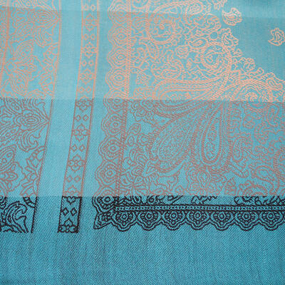 Classic cashmere scarf - grey and turquoise - 3