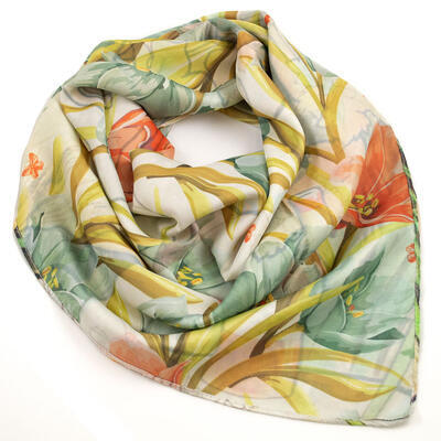 Big square scarf - white and brown/green - 3