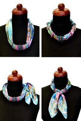 Jewelry scarf Stewardess - white and violet - 3