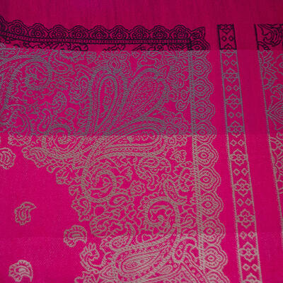 Classic warm double-sided scarf - grey and fuchsia pink - 3