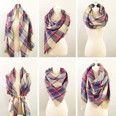 Blanket square scarf - green - 3